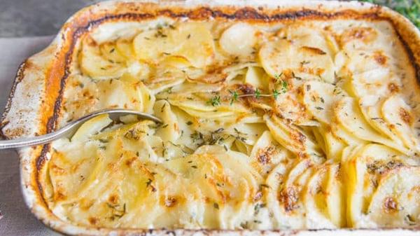 Gratin of Potatoes with Garlic Cream