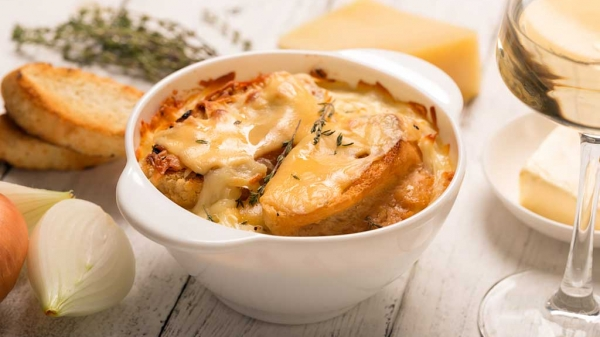 French Onion Soup with Cheese Souffle